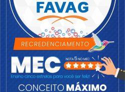 FAVAG RECEBE NOTA MÁXIMA DO MEC!